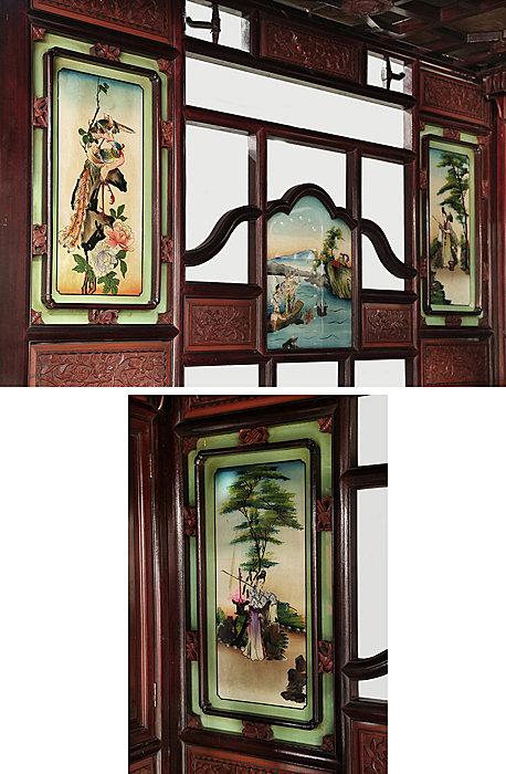 古董家具八腳床彩繪玻璃