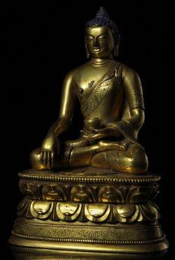 疑似清代 金銅 官造 釋迦牟尼佛造像全圖