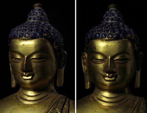 疑似清代 金銅 官造 釋迦牟尼佛造像細部